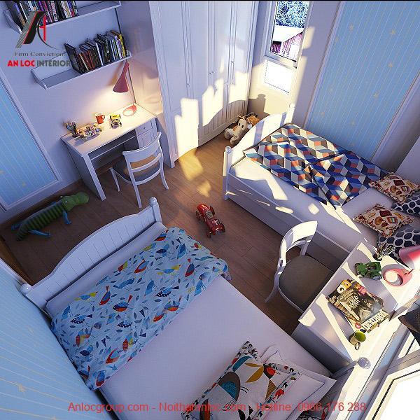 Phòng ngủ đôi của em bé đảm bảo nhu cầu nghỉ ngơi vừa kết hợp học tập, giải trí