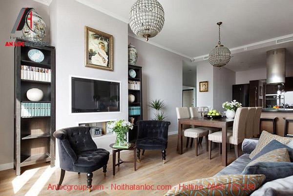 Thiết kế nội thất căn hộ chưng cư 100m2 với đầy đủ cây xanh, hoa tươi tạo cảm giác dễ chịu, thoải mái