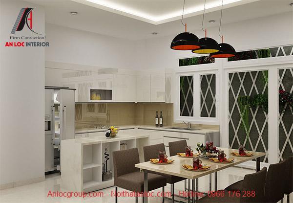 Nội thất phòng bếp được xay dựng hài hòa, cân bừng với tổng thể không gian
