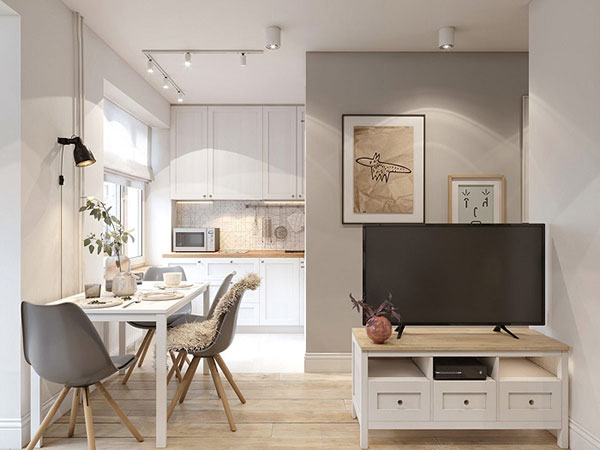 Phòng khách liền bếp tiện nghi trong thiết kế chung cư mini