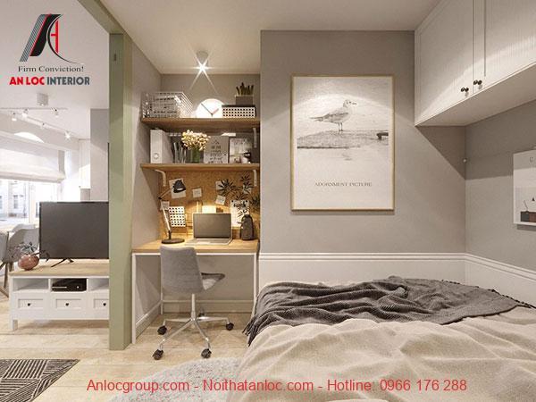 Thiết kế phòng ngủ chung cư 40m2 mini đẹp
