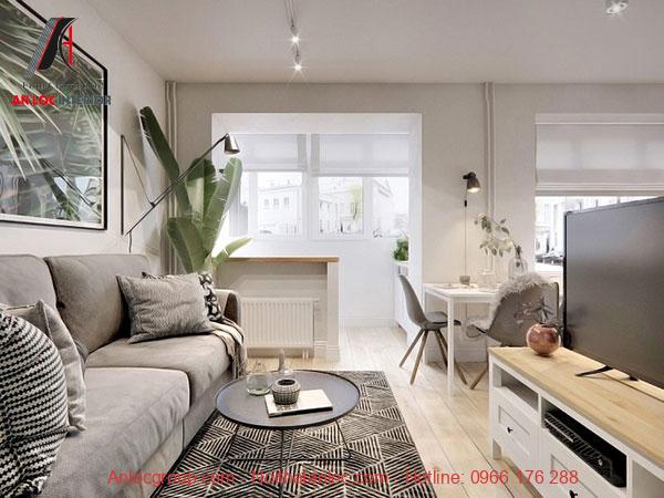 Thiết kế phòng khách chung cư mini 40m2 đẹp