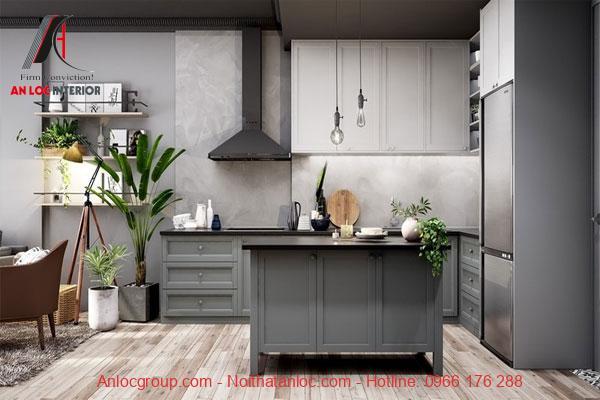 Thiết kế bếp chung cư 60m2 phong cách vintage
