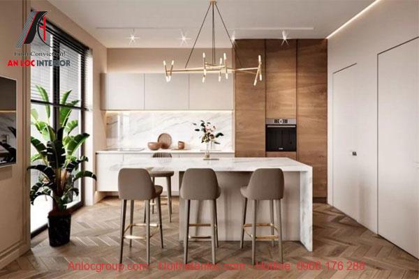 thiết kế bếp và bàn ăn căn hộ 60m2