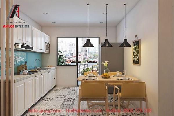Phòng bếp của chung cư 56m2 vừa vặn, dễ làm việc