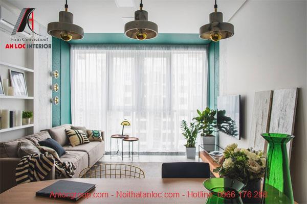 Thiết kế căn hộ chung cư 60m2 màu sắc nổi bật