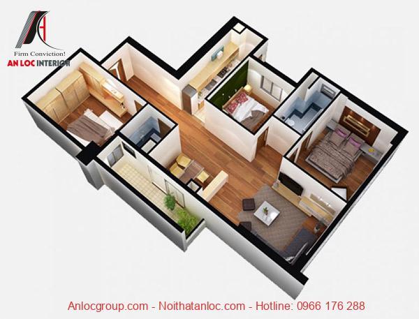 Mâu 7: Khuôn viên nội thất căn hộ 90m2 được thiết kế đơn giản, tận dụng tối đa ahs sáng thiên nhiên. Ngoài ra, gam màu trung tính làm nổi bật vẻ đẹp sang trọng, hiện đại