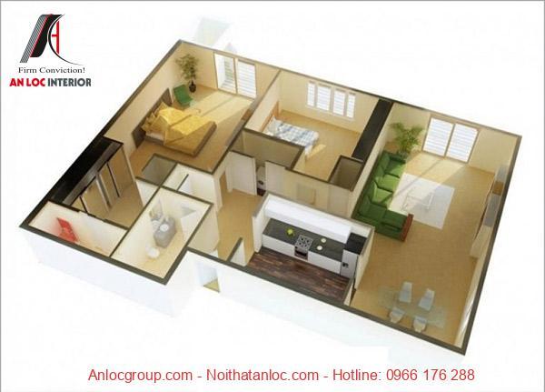 Mẫu 12: Màu sắc nọi thất làm nên vẻ đẹp ấn tượng, tinh tế trong không gian căn hộ chung cư 90m2. Cách bố trí gam màu cùng điểm nhấn ở bộ sofa mang đến dấu ấn đặc biệt. Them vào đó ánh sáng từ những ô cửa sổ lớn chiếu vào mang đến xúc cảm cuốn hút