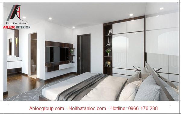 Phòng ngủ master với hệ thống chiếu sáng hài hòa