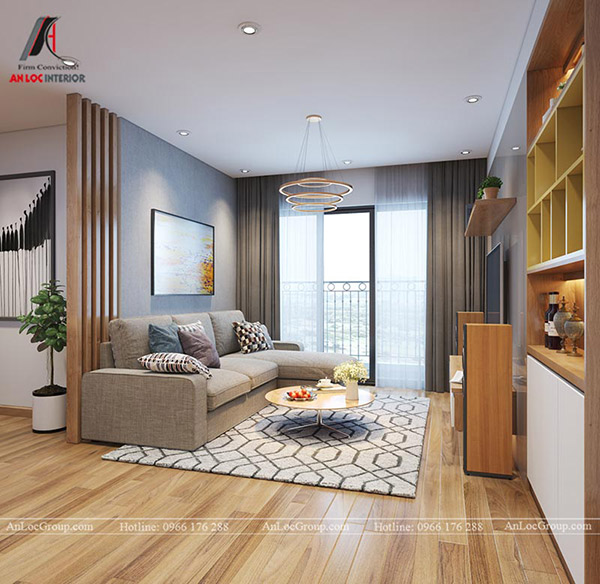 Không gian phòng khách trần ngập ánh sáng với khung cửa lớn