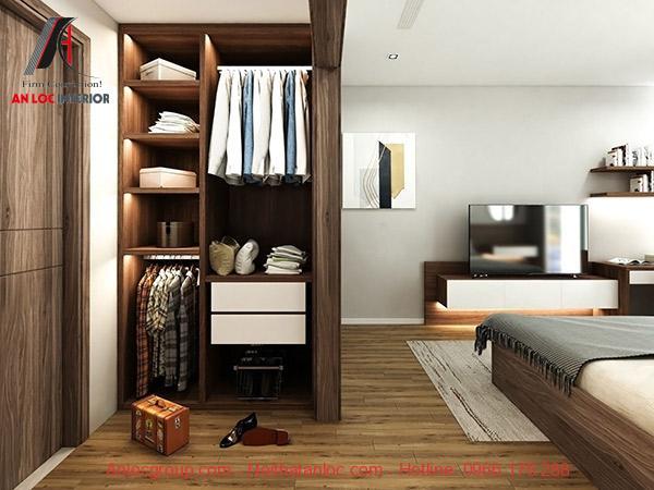 Thiết kế nội thất phòng ngủ chung cư 90m2 đơn giản, hiện đại