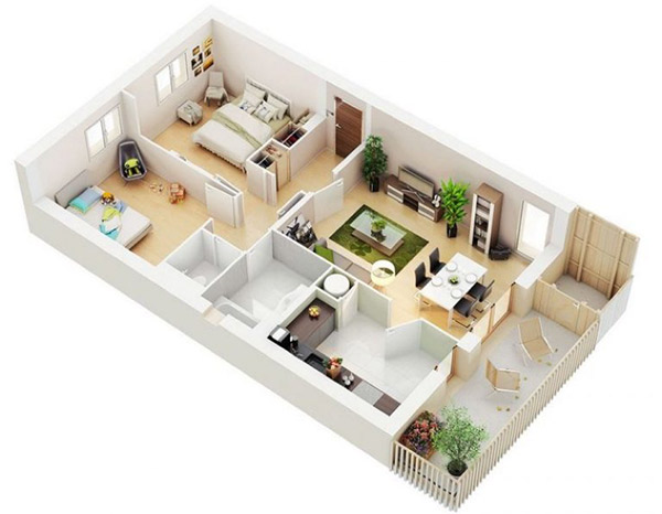 Mẫu 8: Các vật dụng trong phòng được xây dựng theo tiêu chí đơn giản nhưng tích hợp nhiều công năng. Thiết kế nhà 2 phòng ngủ với màu xanh tự nhiên mang đến vẻ đẹp hài hòa