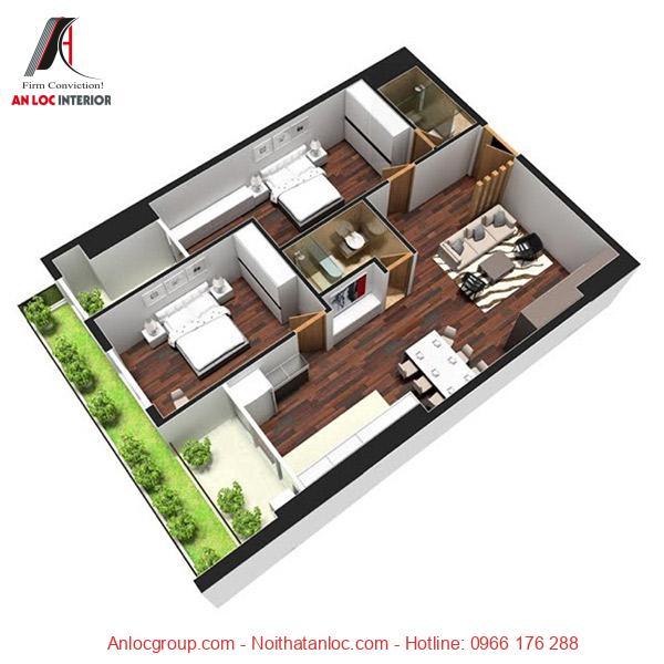 Mẫu 9: Sàn nhà của căn chung cư là vẫn gỗ độc đáo đảm bao sự gọn gàng, sạch sẽ. Các thiết kế nội thất trong 2 phòng ngủ được xây dựng đơn giản, tiện nghi