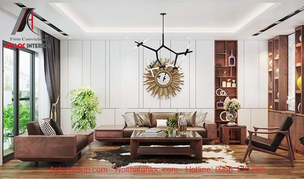 Thiết kế căn hộ 90m2 gỗ tự nhiên