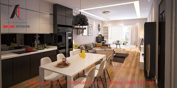 Gỗ có mẫu nâu hoặc vàng nâu là lựa chọn trong thiết kế nội thất chung cư 90m2