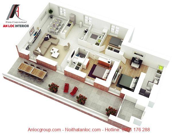 Mẫu 4: khu vực ngoài trời rộng mở cũng như một phòng ăn ấm cúng, không gian căn hộ chung cư 3 phòng ngủ này là nơi lý tưởng để giải trí