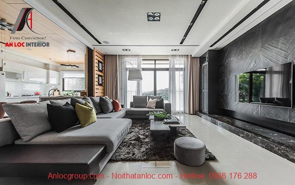 Phòng khách liền bếp với sự giao hòa, gần gũi với thiên nhiên là thiết kế nội thất chung cư 90m2 nổi bật