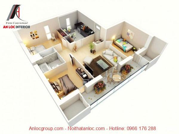 Mẫu 6: Thiết kế nội thất chung cư 90m2 này lựa chọn gam màu nhẹ nhàng mang đến không gian dễ chịu. Bên cạnh 3 phòng ngủ bố trí linh hoạt thì các khu vực khác lựa chọn vật dụng tinh tế