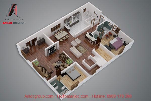 Thiết kế mô hình nội thất chung cư mini 2 phòng ngủ