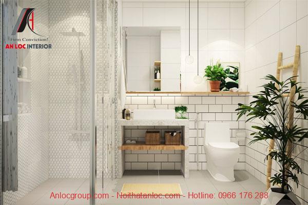Thiết kế phòng tắm căn hộ mini với tone màu trắng đơn giản