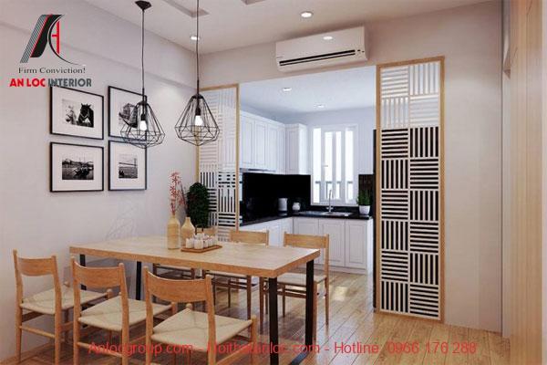 Thiết kế phòng bếp và bàn ăn chung cư mini