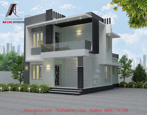 Mẫu nhà 2 tầng mái bằng đơn giản, hiện đại
