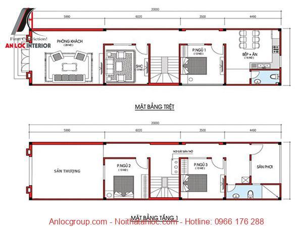 Bản vẽ nhà 2 tầng chi tiết, cụ thể giúp quá trình thi công dễ dàng