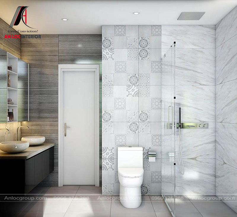 Phòng tắm được bố trí tinh tế, đảm bảo công năng để sử dụng