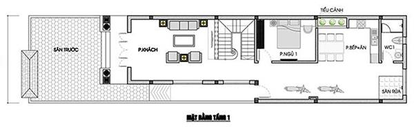 Bản vẽ thiết kế nhà ống 2 tầng 3 phòng ngủ 80m2