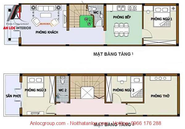 Bản vẽ thiết kế nhà 2 tầng 3 phòng ngủ 80m2 chi tiết, ấn tượng