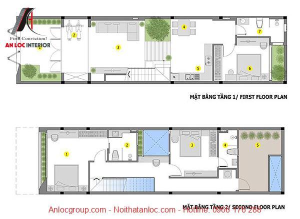 Bản vẽ thiết kế nhf 2 tầng được bố trí 3 phòng ngủ khoa học, hiên đại