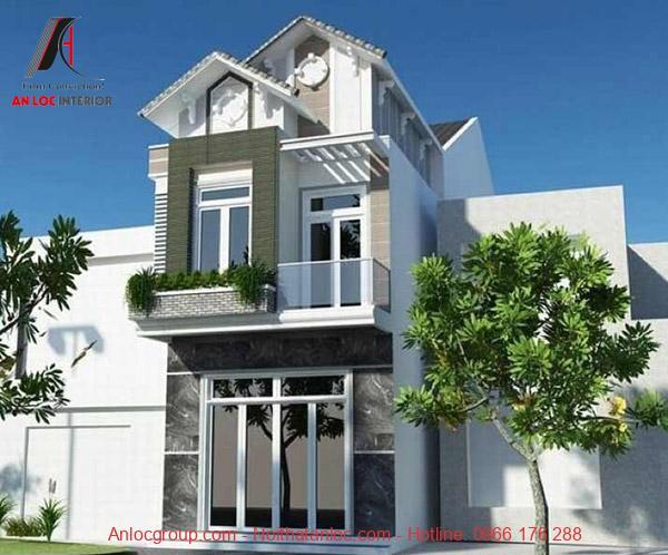 Phối cảnh nhà 2 tầng mái thái với các đường nét mạch lạc, dút khoát