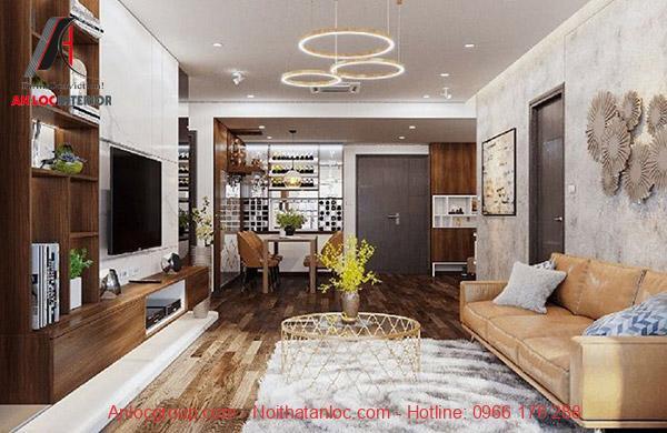 Thiết kế nhà ống 2 tầng 3 phòng ngủ 80m2 với phòng khách hiện đại