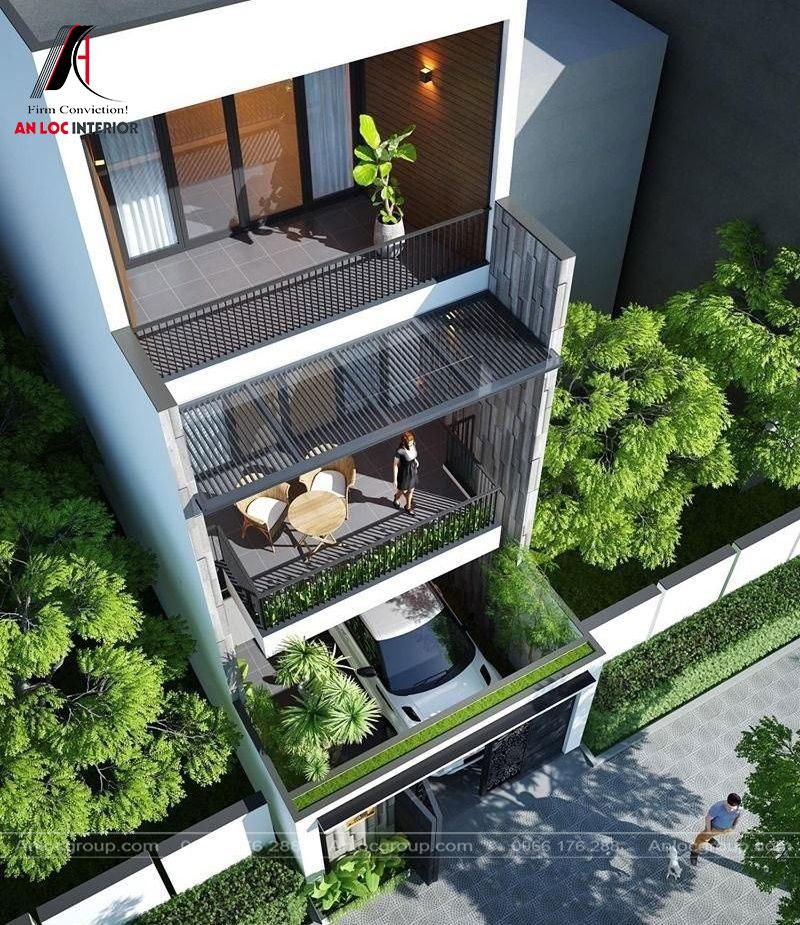Khu vực ban công rộng lớn giúp gia chủ có khuôn viên nghỉ ngơi hiện đại, thoải mái