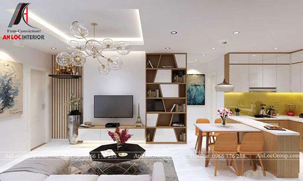 Thiết kế nội thất phòng khách liền bếp trong căn hộ 60m2