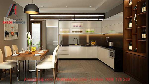 Nội thất phòng bếp hiện đại chung cư 90m2