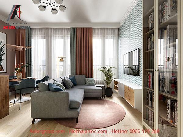 Màu sơn phòng khách căn hộ 90m2