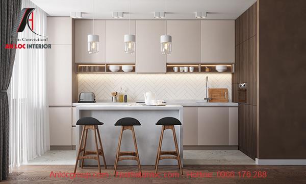 Nội thất phòng bếp chung cư 90m2 hiện đại