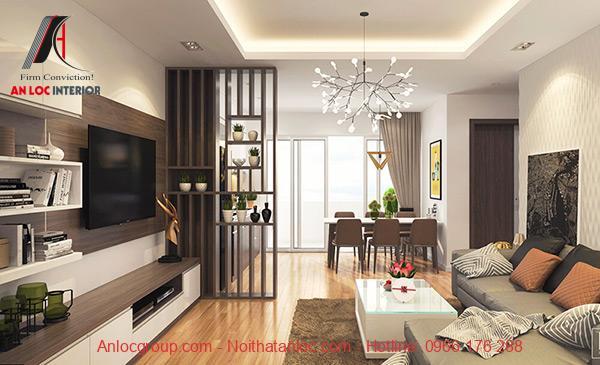 Thiết kế chung cư 90m2 với phòng khách hiện đại
