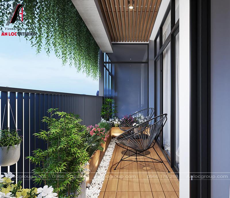 Chiếc ghế kết hợp với không gian xanh tạo một không gian thư giãn tuyệt vời