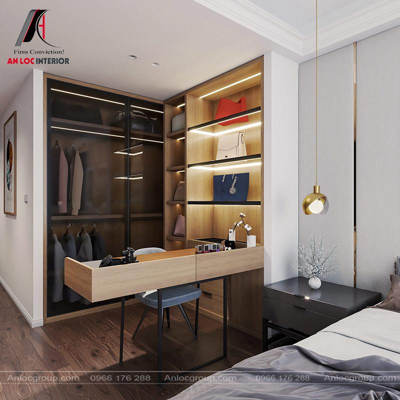 Tủ đựng đồ ngăn nắp, gọn gàng đả bảo tiết kiệm tối đa diện tích căn phòng