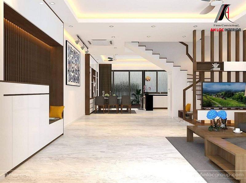 Góc nhìn không gian phòng bếp và phòng khách của căn nhà