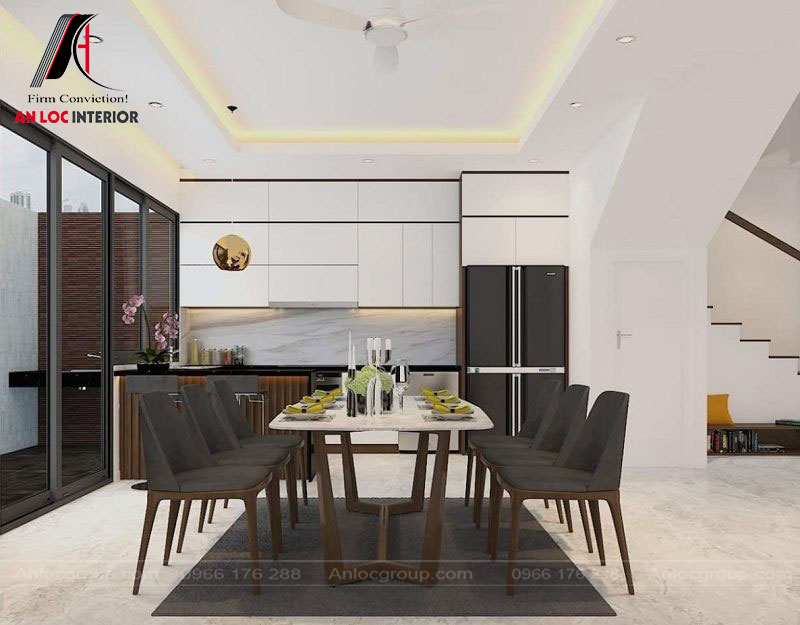 Khu vực bếp đuwọc bố trí nội thất đầy đủ, màu sắc phù hợp với tổng thể căn nhà