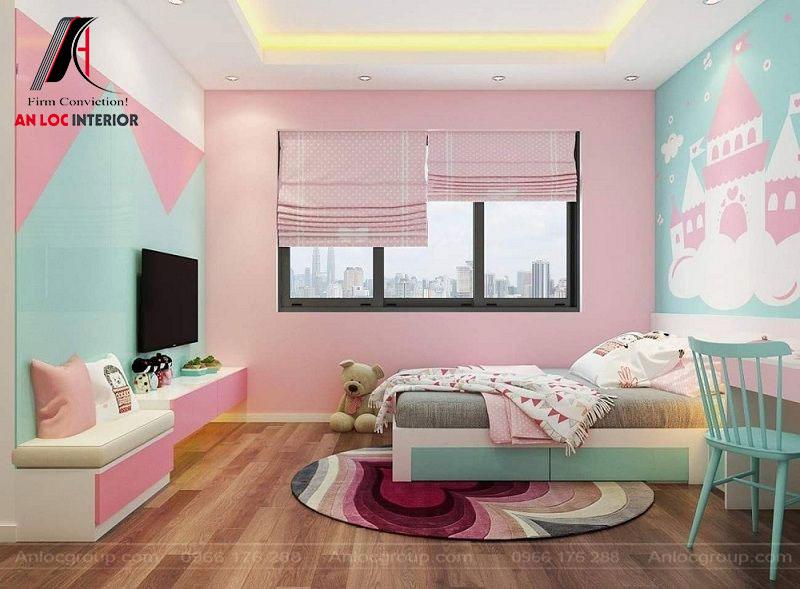 Tường, trần, sàn phối hợp màu sắc độc đáo mang đến cảm giác dễ chịu, thoải mái cho người sử dụng