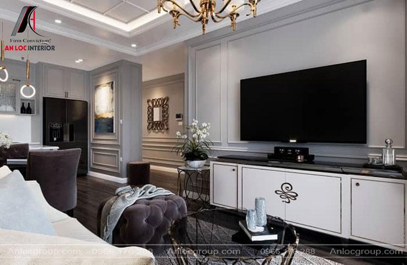 Nội thất phòng khách được lựa chọn tinh tế từ đường nét đến màu sắc