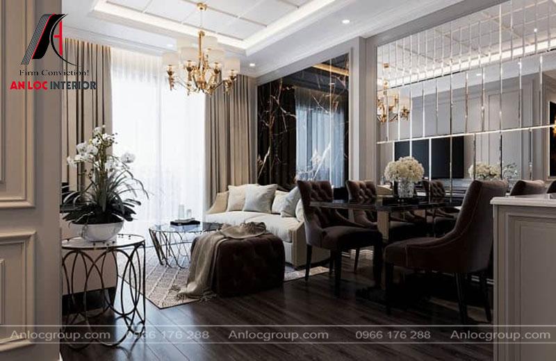 Phòng khách hiện đại, sang trọng không kém những căn biệt thự hiện đại