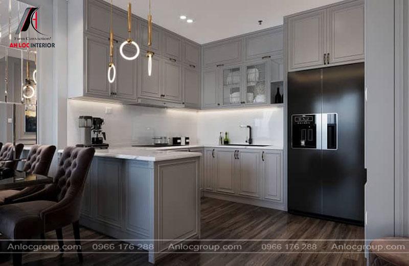 Nội thất phòng bếp đồng nhất với tường, trần và sàn nhà