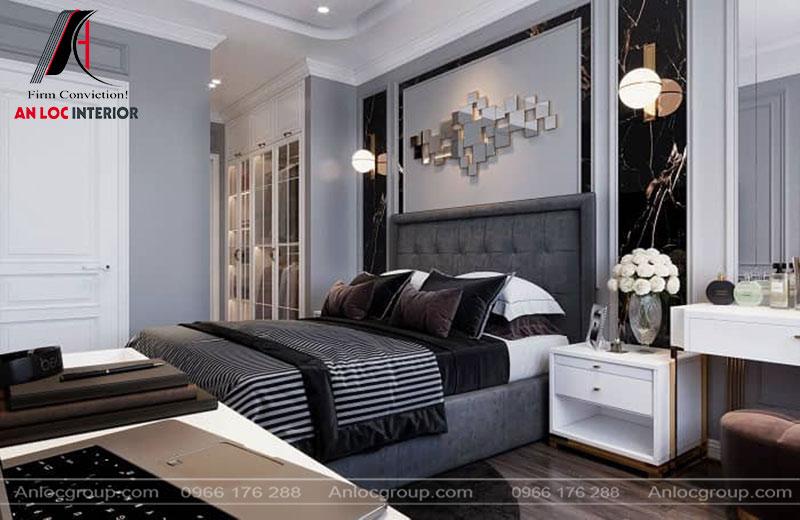 Phòng ngủ được phối hợp màu sắc tinh tế tạo không gian nổi bật, ấn tượng