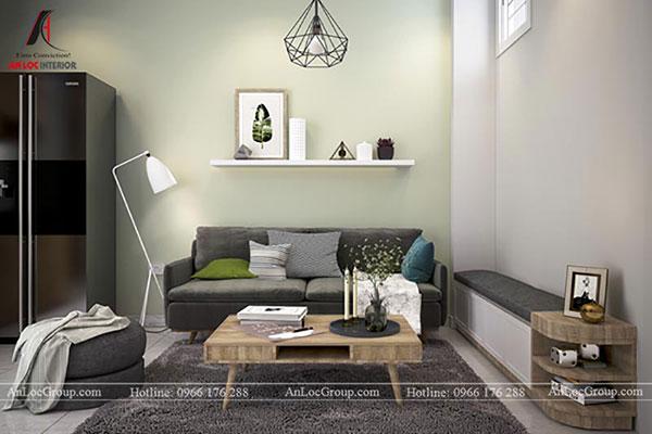 Thiết kế phòng khách tông màu xám