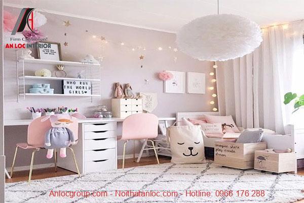 Thiết kế phòng ngủ chung cư cho bé gái
